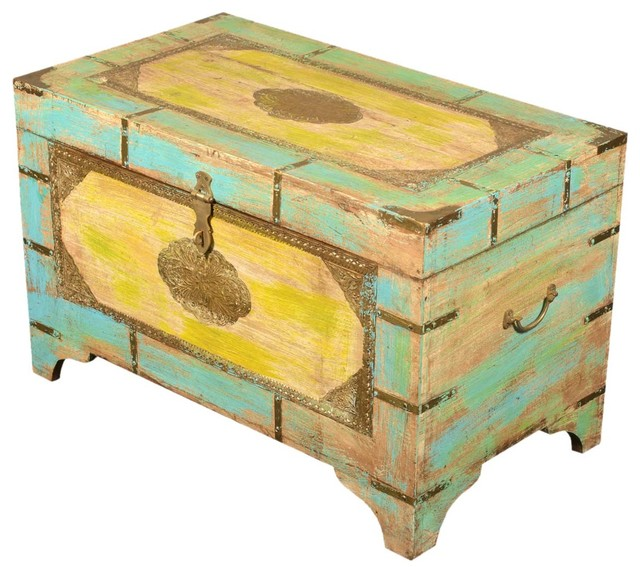 Whimsy Painted Reclaimed Wood & Brass Standing Coffee