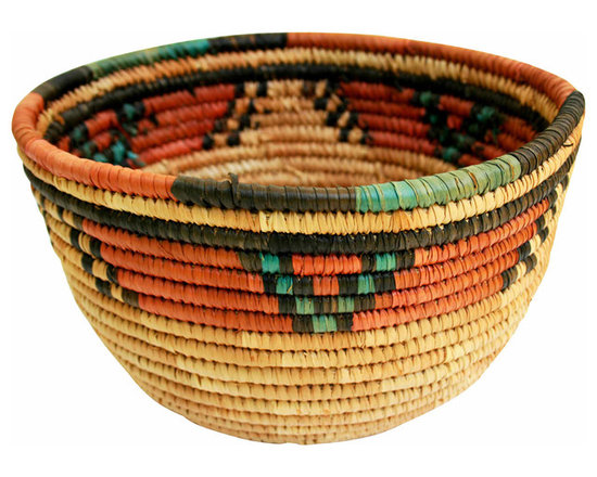 Ethnic Basket - Interesting weave and bright colors. A great item for office storage or flowers in the mudroom.