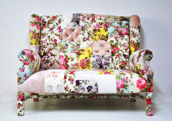Floral Wingback Patchwork Sofa By Name Design Studio Contemporary Sofas By Etsy