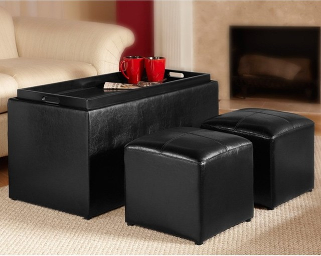 Convenience Concepts Designs4Comfort Sheridan Storage Bench with 2 Side Ottomans modern-footstools-and-ottomans