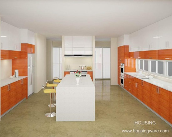 kitchen cabinet 014 - design free, customized, top quality, with bench top and top stainless steel sink