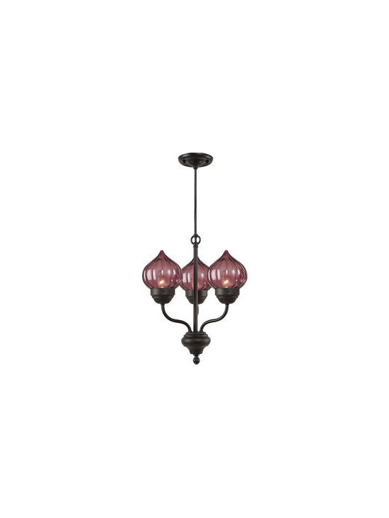 Royce Lighting - Royce Lighting  3-Light Chandelier Ribbed Violet Glass - Every home can use a little extra light, indoors or out. Designed by Deborah Shavlik, this 3-Light chandelier with ribbed violet glass and oil rubbed bronze finish is the perfect addition to your home. It looks as dazzling in the daytime as it will when lit at night. Chandelier includes 3-candelabra base, 120-Watt.