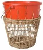 Areaware Bow Bin Rectangle Weave Red modern baskets