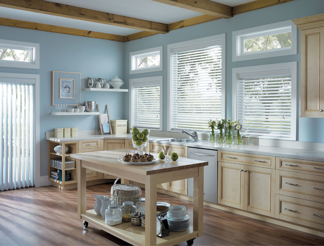 Faux Wood Blinds Eclectic Kitchen Blue White