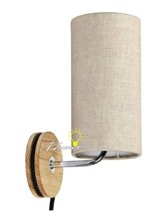 Natural Wood And Fabric Wall Sconce - Natural Wood And Fabric Wall Sconce