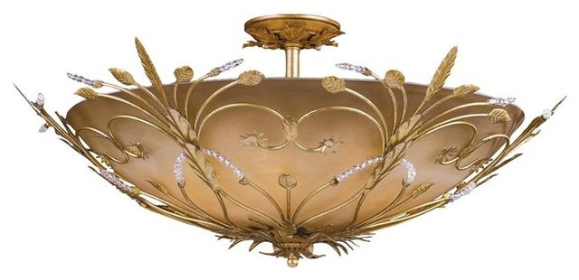 Crystorama 4705-GL Primrose Semi Flush Adorned with Swarovski Spectra Crystal flush-mount-ceiling-lighting