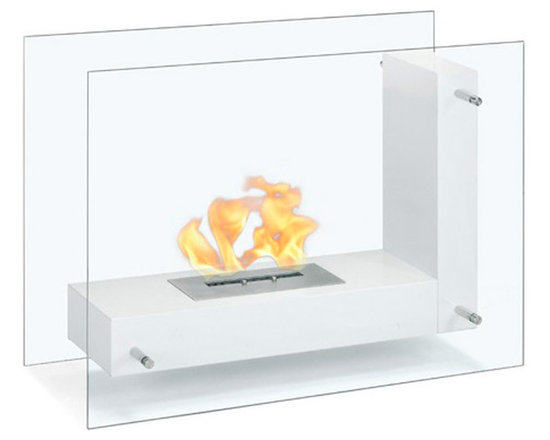 Moda Flame - Arta Contemporary  Indoor Outdoor L Shaped Ethanol Fireplace - White - Arta ethanol contemporary ethanol fireplace is a transparent model visible from any angle in the room. Its double sided tempered glass, connected to an L shaped steel body, gives the effect of a floating flame.