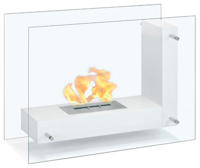 Arta Contemporary Indoor Outdoor L Shaped Ethanol Fireplace White Modern Indoor Fireplaces