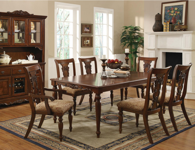 pc cherry wood dining room set table chairs fabric seat coaster