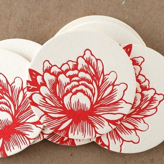 Scarlet Blossoming Flower Coaster modern-wine-and-bar-tools