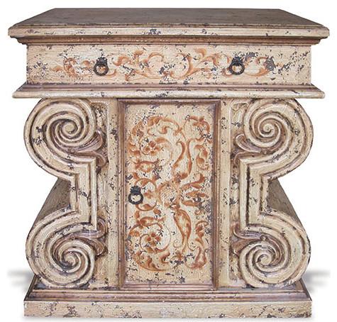 Leonardo Da Vanity, Mocha Distressed with Espresso and Scrolls traditional-bathroom-vanities-and-sink-consoles