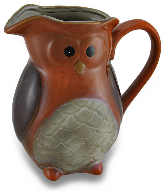 Harvest Owl Ceramic Pitcher Decorative Vase Contemporary
