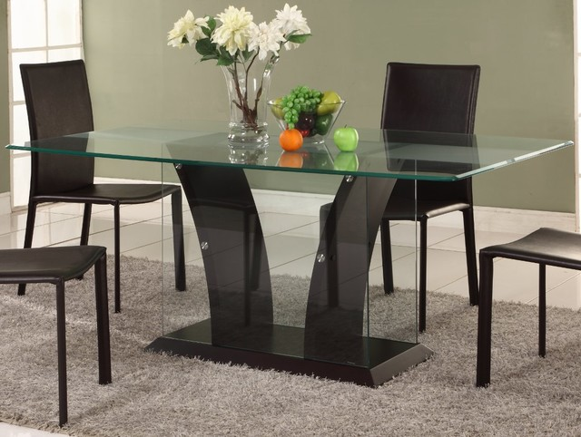 Flair dining table with partially frosted glass top for Frosted glass dining table