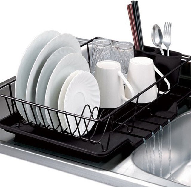 Black 3 Piece Dish Drainer Set Contemporary Dish Racks