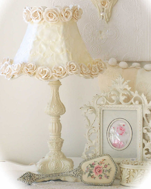 Petal Wall Lamp And Decor : Ornate Table Lamp with Cream Rose Petal Shade - Modern - Table Lamps - by Rosenberry Rooms