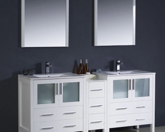 Fresca - Fresca Torino 72 White Double Bathroom Vanity w/ Side Cabinet & Sinks - Featuring frosted glass panels and a White finish for a smart, modern look, the Torino 72 vanity from Fresca will look stylish in both modern and traditional bathrooms. Supplied with the side cabinet, this durable vanity incorporates ample space for keeping toiletries and bathroom linen neatly stored away from view. This vanity also comes complete with the integrated ceramic sinks, which provide a neat finish. Torino Bathroom Vanity Details:   Dimensions: Vanity: 72W x 18 1/8D x 33 3/4H; Side Cabinet: W 12 x D 17.75 x H 31.63 Material: Plywood with Veneer, integrated ceramic sink Finish: White Please note: faucets not included
