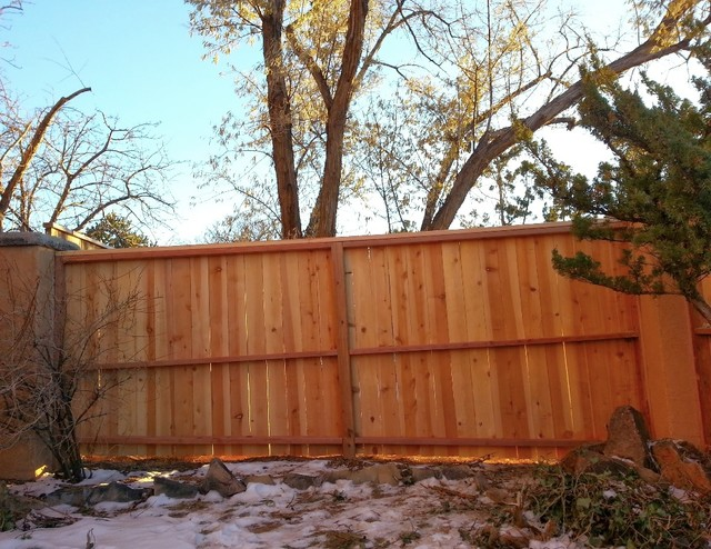 Cedar Fence with Redwood Cap and Trim