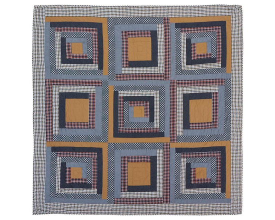 VHC Brands / Ashton & Willow - Westport Quilt, King - The Americana inspired quilt is a classic Log Cabin Block quilting pattern of plaids, solids and chambray fabrics in blues, reds and khaki. The back is tan, creme and blue plaid. It has 100% cotton shell and is hand quilted with stitch in the ditch and echo quilting.