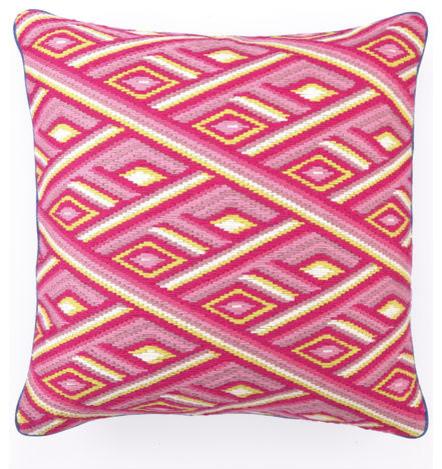 Marcella Pink Bargello Pillow contemporary-decorative-pillows