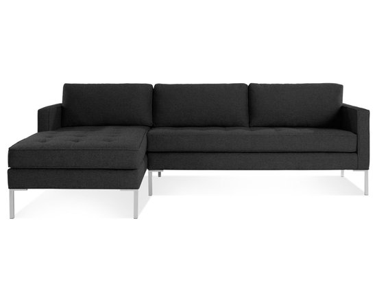Blu Dot - Paramount Sofa with Left Arm Chaise, Lead - As comfortable as your favorite jeans. As versatile as a little black dress. This classic sofa and chaise combination can go anywhere in style but don't be surprised if it steals the limelight in its own quiet way. Available in ash, ceramic, lead and oatmeal.