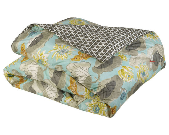 """Mystic Valley Traders Shangri-la - Duvet Cover - The Shangri-la duvet cover is fashioned from the Lagoon fabric, reversing to the Oasis fabric, and finished with a clean edge; it is fully reversible.  As with all Mystic duvet covers, it has a hidden zipper and interior ties in each corner to hold the duvet fast; super king 114""""x98"""""""