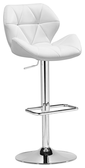 Zuo Jacoby Adjustable White Bar Stool or Counter Stool contemporary-bar-stools-and-counter-stools
