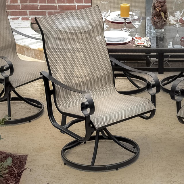La Salle Sling Patio Swivel Rocker Dining Chair Modern Outdoor Dining Cha