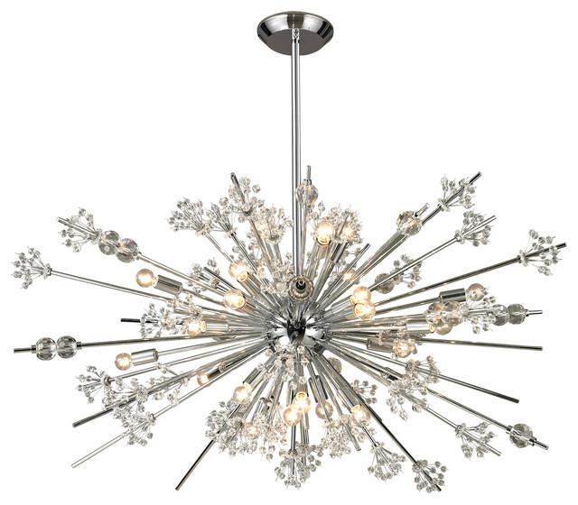 Starburst Modern Crystal & Chrome Chandelier Modern
