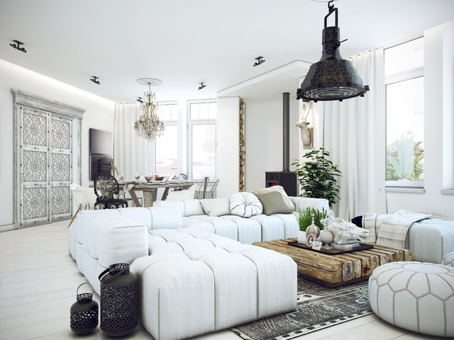 White loft appartment for Home decor 91711