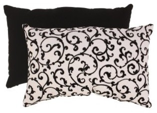 Black/White Flocked Damask Rectangular Throw Pillow modern-decorative-pillows