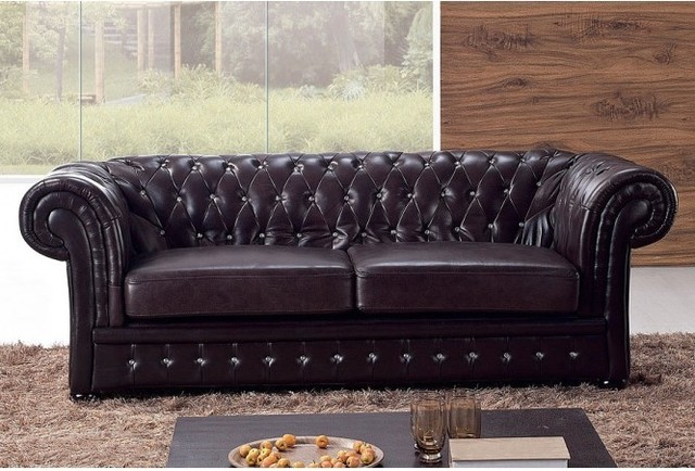 genuine leather chesterfield sofa traditional sofas. Black Bedroom Furniture Sets. Home Design Ideas