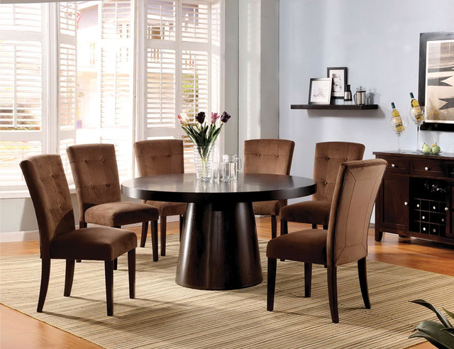 f 7 pc espresso wood dining set round table chairs mocha
