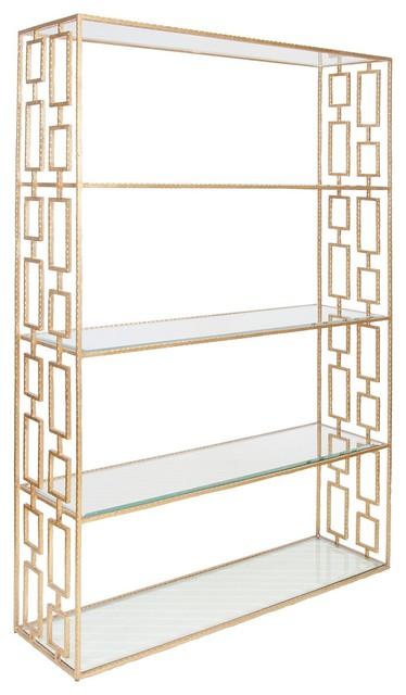 Worlds Away Hays Gold Leafed Etagere mediterranean-bookcases