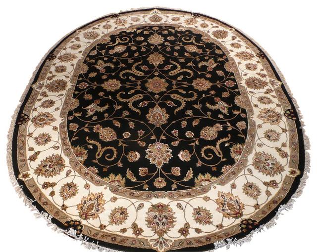 8 X 10 Hand Knotted Oval Wool Amp Silk Black Tabriz Oriental