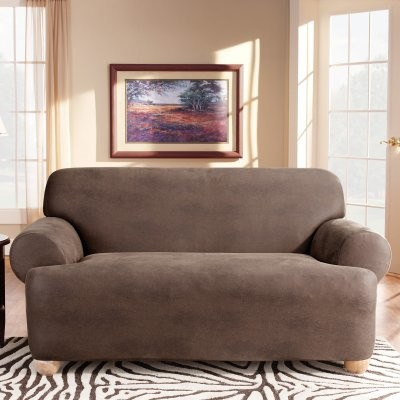 Sure Fit Stretch Leather T-Cushion Loveseat Slipcover modern-chairs