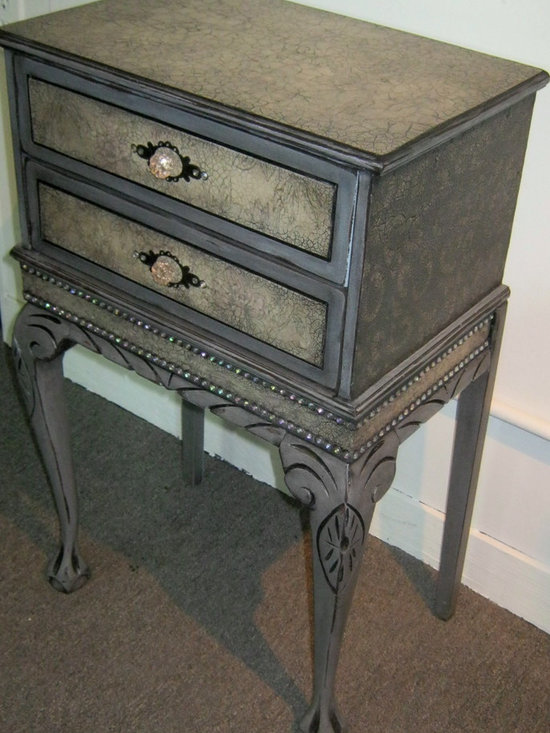 Hand Painted  / Embellished End Table AVAIL. FOR SALE -