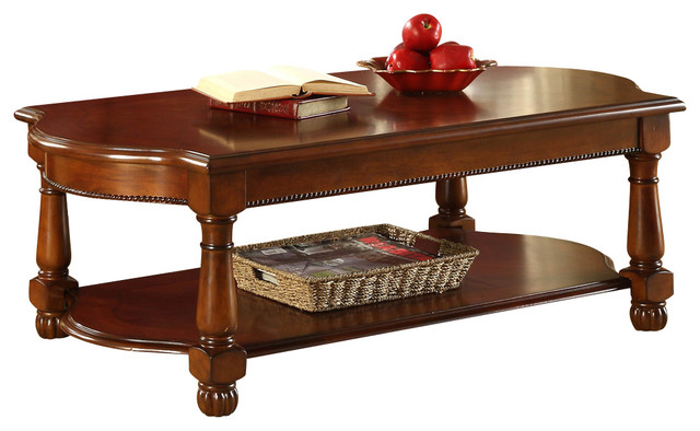 Homelegance Amaya Cocktail Table In Warm Cherry Traditional Coffee Tables By Beyond Stores