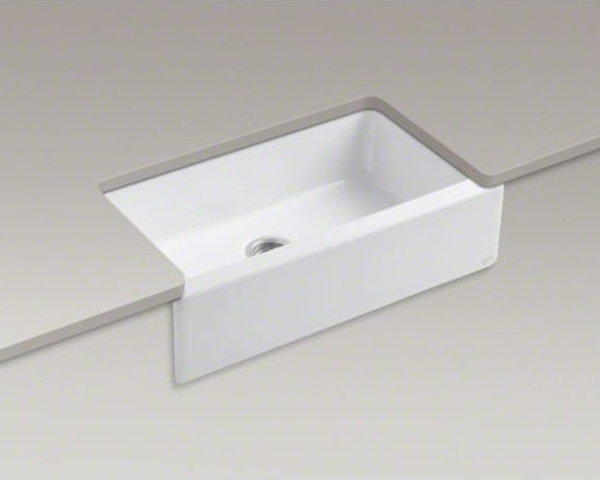 """KOHLER - KOHLER Dickinson(R) 33"""" x 22-1/8"""" x 8-3/4"""" apron-front, under-mount single-bowl - With its strong silhouette and wide basin, the Dickinson farmhouse-style sink offers a simple, functional alternative to larger double-bowl sinks. Crafted from enameled cast iron, this sink resists chipping, cracking, or burning for years of beauty and re"""