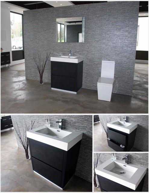 Bliss 30 Black Floor Mount Modern Bathroom Vanity Modern Bathroom Vanity Units Sink