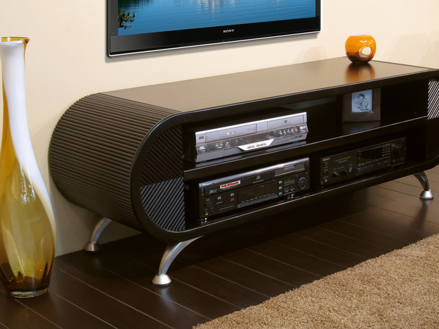 Contemporary Curved Entertainment Stand - Cascade Espresso modern-entertainment-centers-and-tv ...
