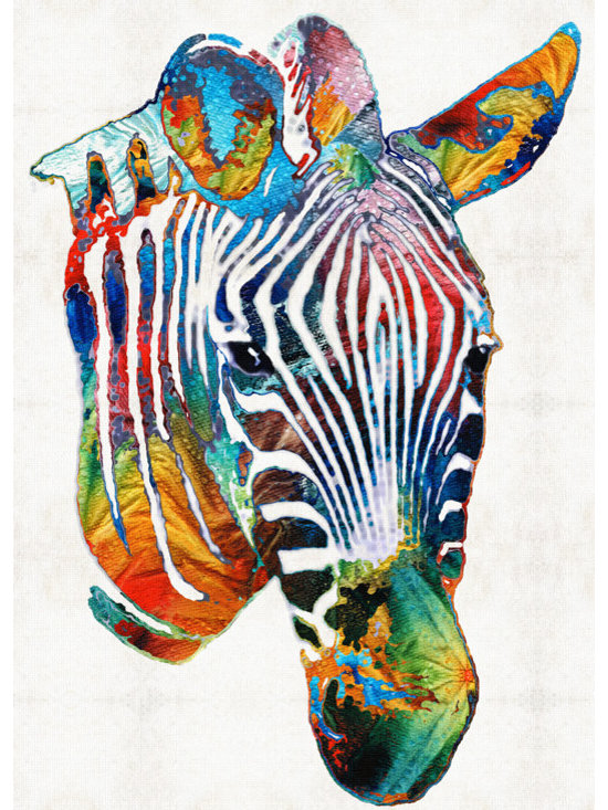 Animals, Fish and Birds - Colorful Zebra Face By Sharon Cummings