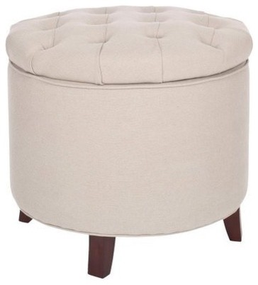 Safavieh AmeliaTufted Storage Ottoman, Beige modern-footstools-and-ottomans