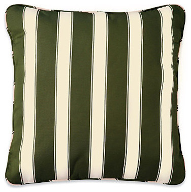 """20"""" Throw Pillow 20""""Sq.x6"""" - Fern Green Awning Stripe contemporary-outdoor-cushions-and-pillows"""