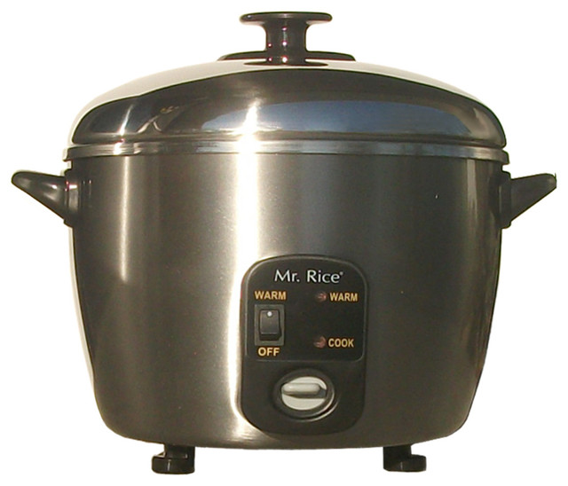 Stainless Steel Rice Cooker/Steamer, 6-Cup contemporary-rice-cookers-and-food-steamers