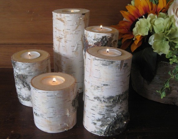 5 Birch Bark Candle Holders by MyGardenGate on Etsy eclectic candles and candle holders