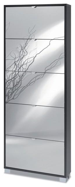 Rectangular Floor Standing Shoe Rack with 5 Mirrored Doors contemporary-shoe-storage