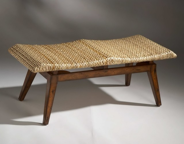 Designer 39 S Edge Bench With Woven Seagrass Seat Rustic Indoor Benches New York By Dexter