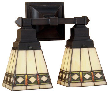 Stained Glass Vanity Light Fixtures : Meyda Tiffany 48192 Stained Glass / Tiffany 2 Light 12