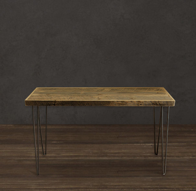 Reclaimed Wood Raw Tall Console Table modern-indoor-pub-and-bistro-tables