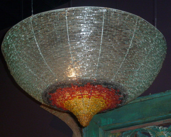 Unique Lighting - Recycled beach glass and beaded chandelier